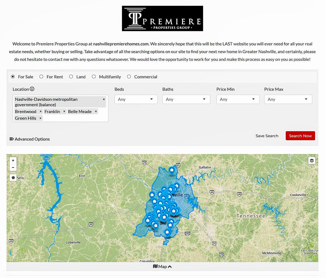 Nashville Tennessee Real Estate Area Map   Premiere ...